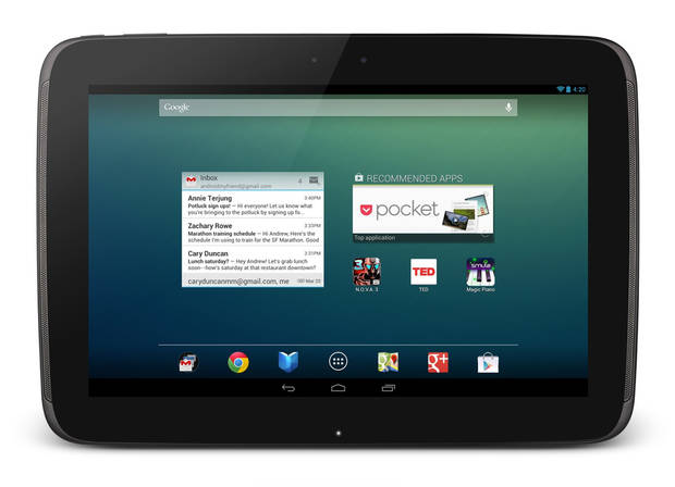   This undated image provided by Google shows Google&#039;s new 10-inch tablet, the Nexus 10. The Nexus, which starts shipping Tuesday, Nov. 13, 2012, appeares on its face to be a good alternative to Apple&#039;s general-purpose tablet, and with a price tag that&#039;s $100 less. (AP Photo/Google)  