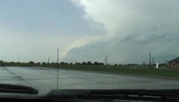 Storm clouds in Yukon are seen this afternoon in this image from NewsOK.com video.