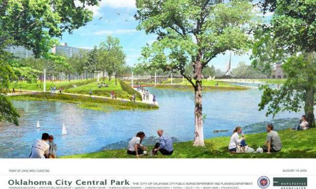 A rendering of a proposed Core to Shore park created during the MAPS 3 campaign showed amenities now found at the Myriad Gardens. Core to Shore critics are questioning the viability of the proposed park. <strong>pfrankel</strong>