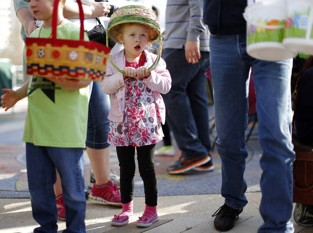 Aryanna Hultman, 3, of Yukon waits in line for the start of the Myriad Gardens Annual Easter Egg Hunt in downtown Oklahoma City, Saturday, March 30, 2013. Photo by Bryan Terry, The Oklahoman