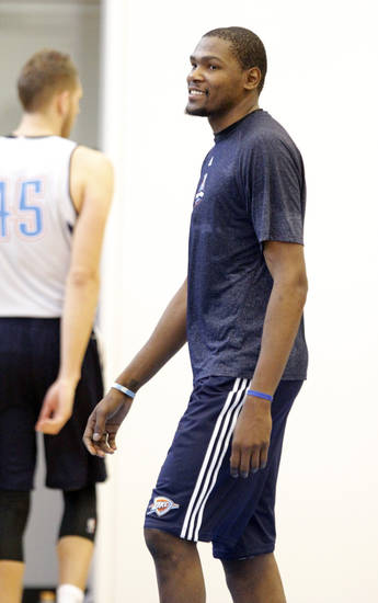 Oklahoma City's Kevin Durant is pictured during the Thunder's practice in Oklahoma City, Sunday, Dec. 11, 2011. Photo by Sarah Phipps, The Oklahoman