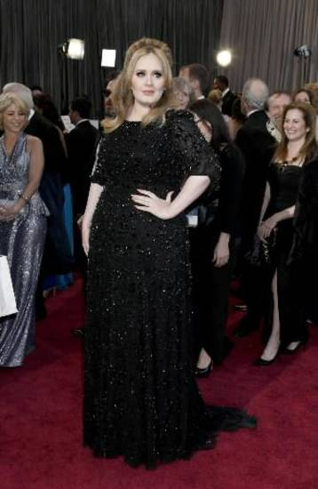 Adele takes the red carpet. (AP)