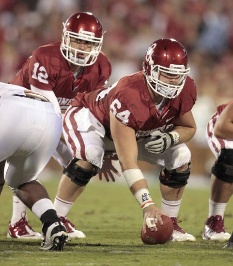 Junior Gabe Ikard will play center for Oklahoma in 2012. PHOTO BY STEVE SISNEY, THE OKLAHOMAN