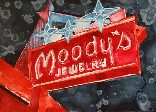 "Tulsa artist Tommy Ball's ""Moody's Neon,"" a watercolor painting on paper, is featured in the Oklahoma Visual Arts Coalition's 2013 ""Momentum"" exhibition. Photo provided. <strong></strong>"