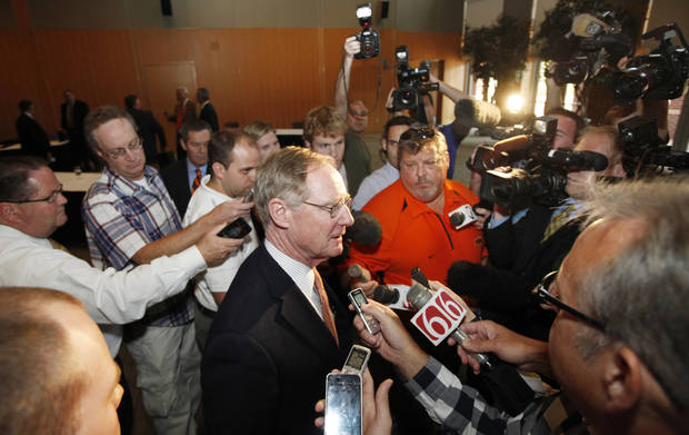 OSU: Oklahoma State University President Burns Hargis, talks with the media following the Board of Regents meeting in Stillwater, Tuesday, September 21, 2011. Photo by Steve Gooch  ORG XMIT: KOD