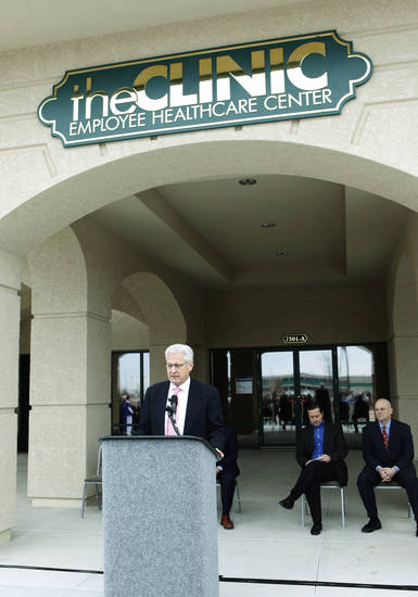 Hobby Lobby CEO David Green speaks March 1, 2010, at the unveiling of Hobby Lobby�s new health clinic for employees.  Workers with insurance receive free treatment, others receive care at a reduced cost.  Photo By Paul Hellstern, The Oklahoman Archives