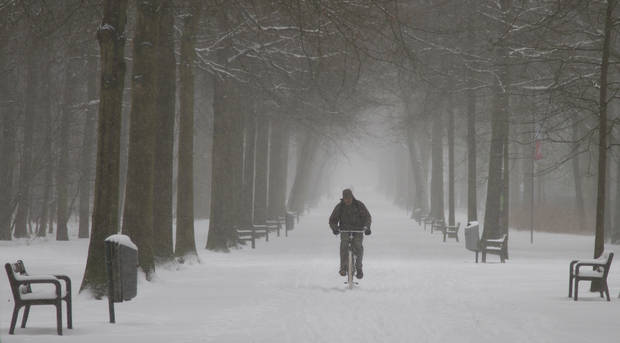 A man rides his bicycle down a snowy path in a park in Wilrijk, Belgium on Tuesday, March 12, 2013. An overnight snowfall on Monday evening snarled rush hour traffic on Tuesday morning. (AP Photo/Virginia Mayo)