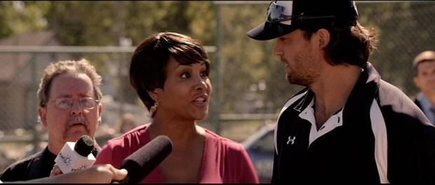 "From left, Vivica A. Fox and Scott Elrod appear in a scene from the faith-based baseball drama ""Home Run,"" which was filmed in Okmulgee and Tulsa. Samuel Goldwyn Films <strong></strong>"