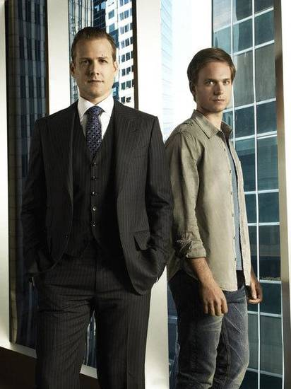 SUITS -- Season:1 -- Pictured: (l-r) Gabriel Macht as Harvey Specter, Patrick Adams as Mike Ross -- Photo by: Frank Ockenfels/USA Network