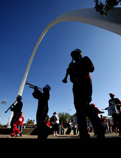 High school band members march under the arch during band day at the 2011 Oklahoma State Fair at State Fair Park in Oklahoma City, OK, Monday, Sept. 19, 2011. By Paul Hellstern, The Oklahoman