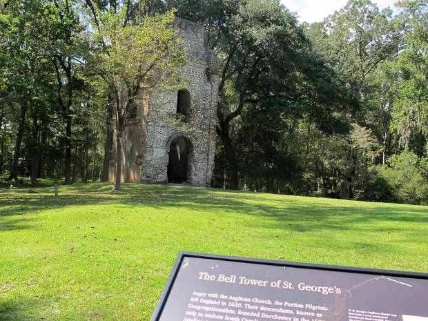 The ruins of a church bell tower dating to 1751 stands at the Colonial Dorchester State Historic Site in Summerville, S.C., Friday, Oct. 5, 2012. A new tourism campaign by the state South Carolina Department of Parks, Recreation and Tourism is aimed at drawing visitors to such sites that tourism officials call undiscovered South Carolina. (AP Photo/Bruce Smith)