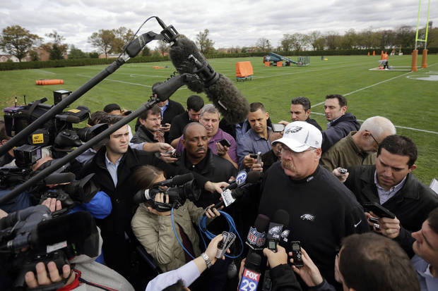 Philadelphia Eagles head coach Andy Reid speaks to the media after NFL football practice at the team's training facility, Thursday, Nov. 1, 2012, in Philadelphia. (AP Photo/Matt Slocum) ORG XMIT: PAMS103