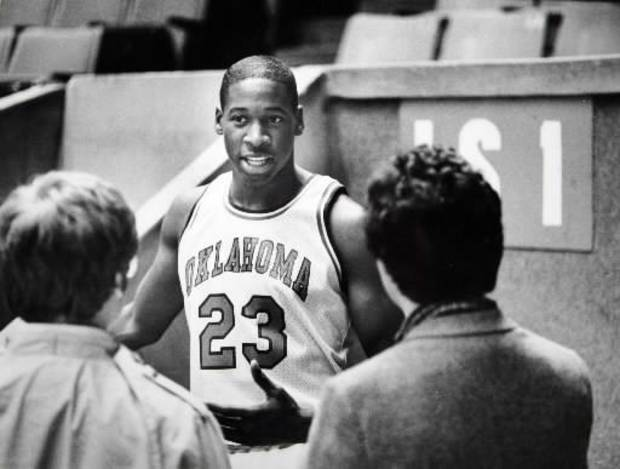 Former OU basketball player  Wayman  Tisdale, the youngest winner of the Headliner of the Year award in Oklahoma. Staff photo by Doug Hoke. Photo taken 11/16/1983