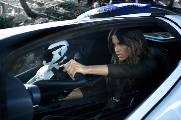 "Kate Beckinsale as Lori Quaid in a scene from ""Total Recall."" COLUMBIA PICTURES PHOTO <strong></strong>"