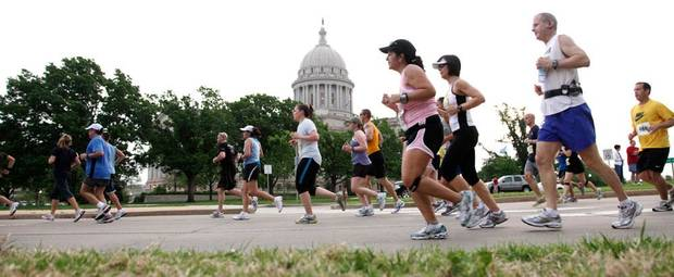 Runners make their way north on Lincoln Boulevard near the Capitol during the Oklahoma City Memorial Marathon Sunday, April 26, 2009. Photo by Doug Hoke, The Oklahoman