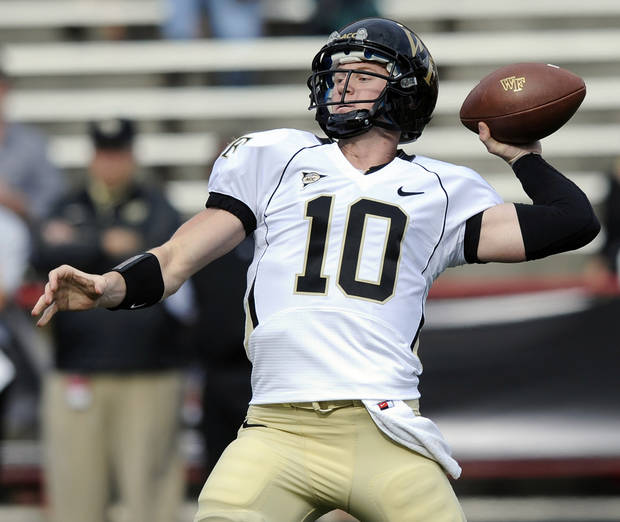 Wake Forest quarterback Tanner Price (10) drops back to pass against Maryland during the first half of an NCAA football game, Saturday, Oct. 6, 2012, in College Park, Md. (AP Photo/Nick Wass)