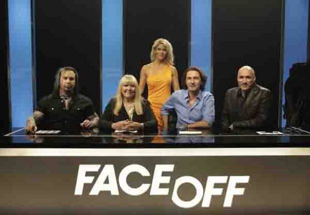 FACE OFF -- Episode 301 -- Pictured: (l-r) Glenn Hetrick, Ve Neill, McKenzie Westmore, Patrick Tatopoulos, Neville Page -- (Photo by: Nicole Wilder/Syfy)