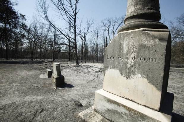 Grave markers stand in the center of the charred Wright's Cemetery after Tuesdays wildfires swept through the area in Oklahoma City , Wednesday, August 31, 2011. Photo by Steve Gooch ORG XMIT: KOD