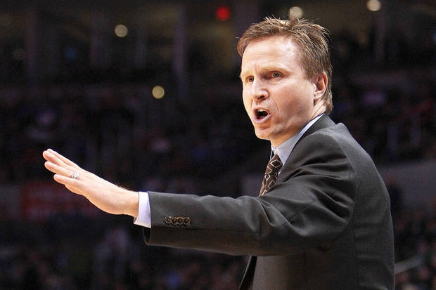 Back in 1995, Scott Brooks was a point guard for the Rockets and was traded to the Mavericks. The trade occurred during halftime of a Houston game. Photo BY HUGH SCOTT, THE OKLAHOMAN