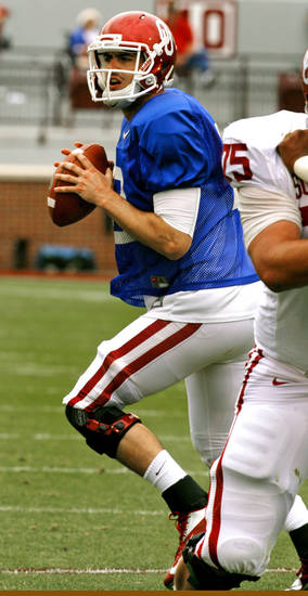 Landry Jones plays during the University of Oklahoma (OU) football team's annual Red and White Game at Gaylord Family/Oklahoma Memorial Stadium on Saturday, April 14, 2012, in Norman, Okla.  Photo by Steve Sisney, The Oklahoman