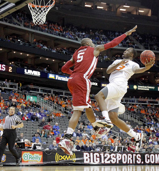 OSU's James Anderson goes to the basket past OU's Tony Crocker in the first half of the college basketball game during the men's Big 12 Championship tournament at the Sprint Center on Wednesday, March 10, 2010, in Kansas City, Mo. Photo by Bryan Terry, The Oklahoman