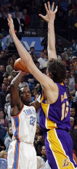 Oklahoma City's Jeff Green (22) shoots over the defense of Pau Gasol (16) of Los Angeles during the NBA basketball game between the Los Angeles Lakers and the Oklahoma City Thunder at the Ford Center in Oklahoma City, Friday, March 26, 2010. Photo by Nate Billings, The Oklahoman