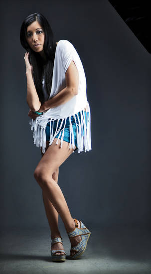 Diamond-weave wedge heels by 80%20, sold at Heirloom Shoe. White fringe top by Young Fabulous & Broke and 7 For All Mankind teal shorts sold at Funky Monkey. Photo by Chris Landsberger, The Oklahoman. <strong>CHRIS LANDSBERGER</strong>
