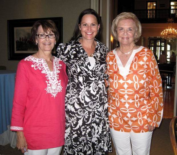 Linda James, Laura Kirkpatrick, Pam Smith were at the party at the Oklahoma City Golf and Country Club. (Photo by Helen Ford Wallace).