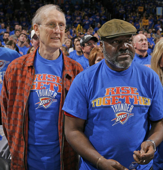 Actors James Cromwell, left, and Frankie Faison watch from courtside in the second half during game 7 of the NBA basketball Western Conference semifinals between the Memphis Grizzlies and the Oklahoma City Thunder at the OKC Arena in Oklahoma City, Sunday, May 15, 2011. The Thunder won, 105-90. Photo by Nate Billings, The Oklahoman