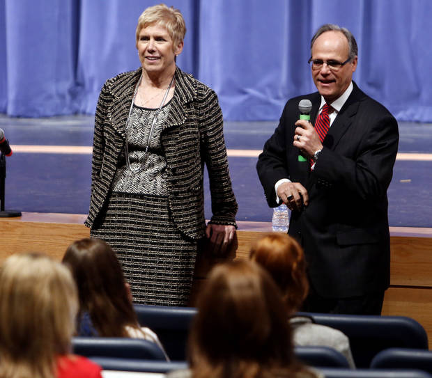 Dr. Joseph Siano, Superintendent of Norman Public Schools introduces State School Superintendent Janet Barresi at Norman North High School during her Raise the Grade tour on Friday, Feb. 8, 2013 in Norman, Okla.  Photo by Steve Sisney, The Oklahoman