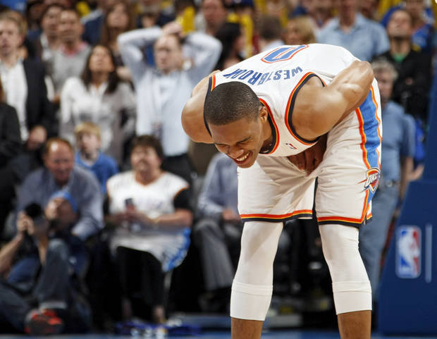 Oklahoma City's Russell Westbrook (0) reacts after being called for a foul in the fourth quarter during the NBA basketball game between the Oklahoma City Thunder and the San Antonio Spurs at Chesapeake Energy Arena in Oklahoma City, Friday, March 16, 2012. San Antonio won, 114-105. Photo by Nate Billings, The Oklahoman