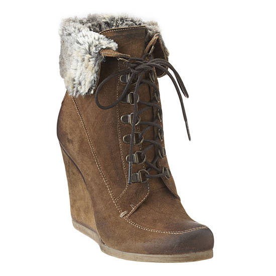 Boutique 9 wedge with faux fur trim, $200.