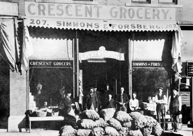 An early photo of Crescent Grocery, circa 1900. One of the oldest continuously-open grocery stores in the country, the store was founded on Land Run Day, 1889, and is believed to be one of the oldest businesses in the state. <strong>COPY</strong>