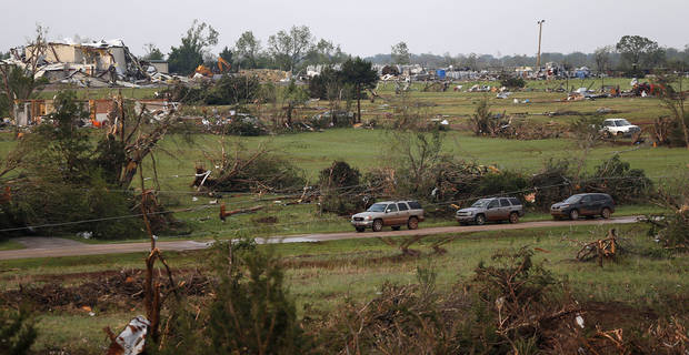 Damaged homes are seen in Carney, Okla., on Sunday, May 19, 2013, after a tornado moved through the area. Photo by Bryan Terry, The Oklahoman