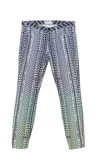 Mary Katrantzou is partnering with Current/Elliott on a smorgasbord of popping prints and bold patterns. Pictured, the Night Hawk Stiletto jeans. (Current/Elliott via Los Angeles Times/MCT)