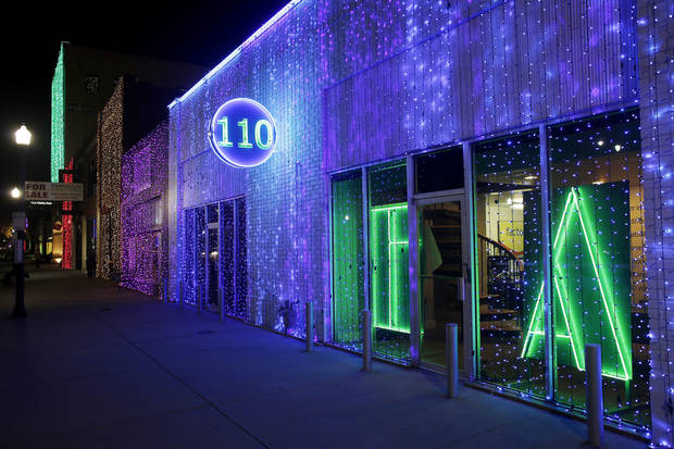 Christmas lights along Broadway in the area called Automobile Alley Tuesday, December 4, 2012. Photo by Doug Hoke, The Oklahoman