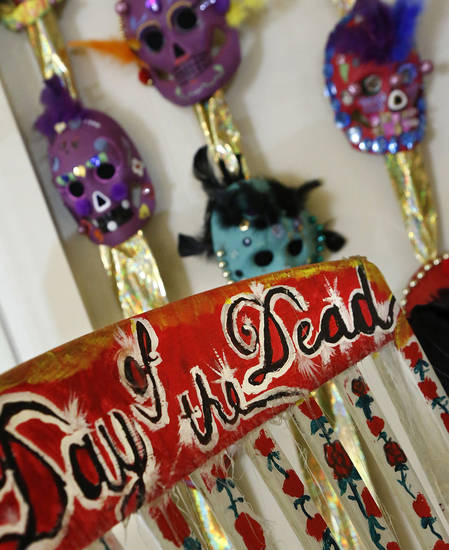 For the fourth year, the Oklahoma City Public School District is partnering with the Gold Dome Multicultural Society to display student artwork celebrating the Mexican tradition of  Dia de los Muertos at the Gold Dome at NW 23 and Classen. <strong>Jim Beckel - THE OKLAHOMAN</strong>