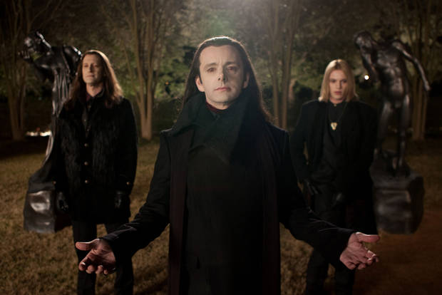 Christopher Heyerdahl, left, Michael Sheen, center, and Jamie Campbell Bower are in a scene from �The Twilight Saga: Breaking Dawn Part 2.� AP PHOTO