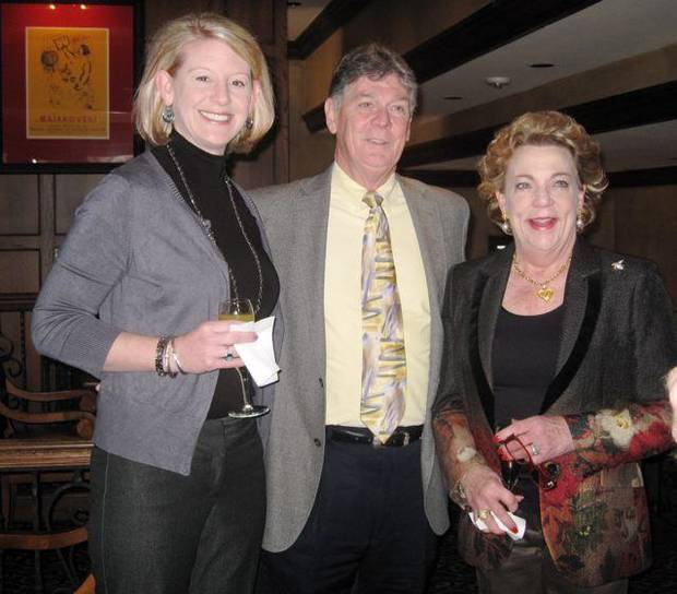 Mandi Mayes, David Pyle and Barbara Beeler enjoy the party at the Oklahoma City Golf and Country Club. (Photo by Helen Ford Wallace).