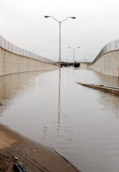 The westbound off-ramp and eastbound on-ramp to I-44 were closed at Classen Boulevard due to flooding from weekend rains in Oklahoma City Monday  <strong>PAUL B. SOUTHERLAND - PAUL B. SOUTHERLAND</strong>