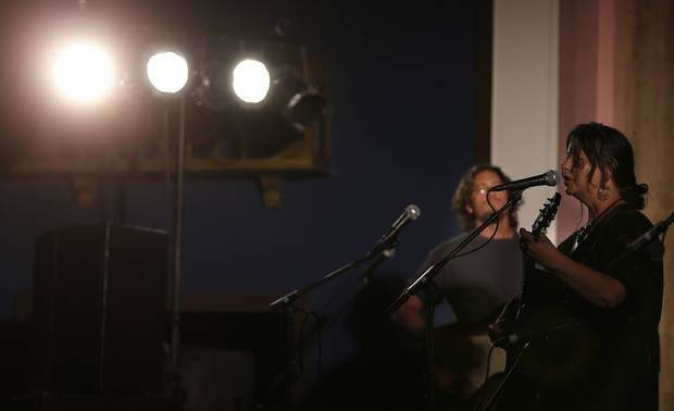 Annie Guthrie performs at the Crystal Theatre during the Woody Guthrie Festival in Okemah, Okla., Friday, July 11, 2014. Photo by Sarah Phipps, The Oklahoman