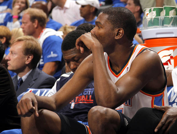 Oklahoma City's Kevin Durant (35) reacts on the bench during game 3 of the Western Conference Finals of the NBA basketball playoffs between the Dallas Mavericks and the Oklahoma City Thunder at the OKC Arena in downtown Oklahoma City, Saturday, May 21, 2011. Photo by Sarah Phipps, The Oklahoman