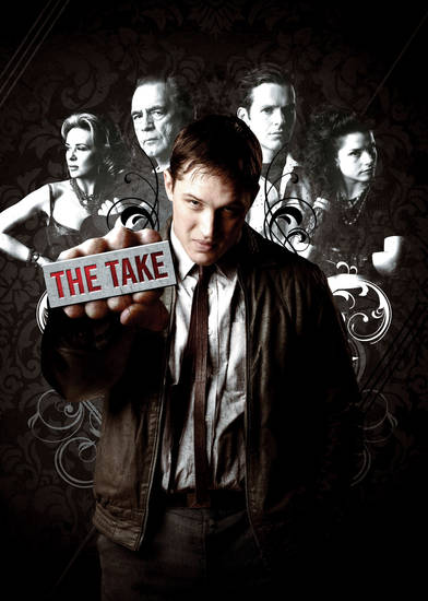 "Tom Hardy, center, and in back row, from left: Kierston Wareing, Brian Cox, Shaun Evans and Charlotte Riley of ""The Take"" - Photo Provided by Encore"