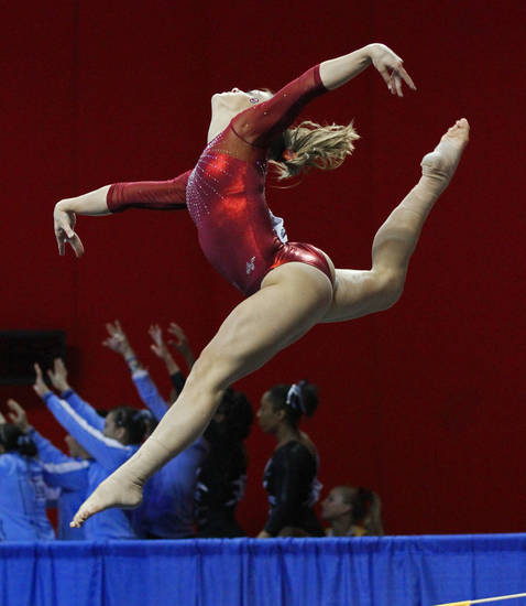 University of Oklahoma Sooner (OU) Sara Stone competes in the floor exercise during the 2011 National Collegiate Women's Gymnastics Regionals at the University of Oklahoma in the Lloyd Noble Center on Saturday, April 2, 2011, in Norman, Okla.  Photo by Steve Sisney, The Oklahoman