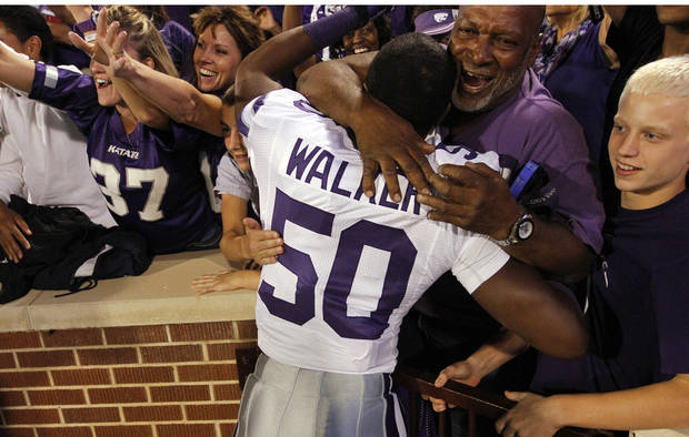 Kansas State's Tre Walker (50) celebrates the 24-19 win over Oklahoma during the college football game between the University of Oklahoma Sooners (OU) and the Kansas State University Wildcats (KSU) at the Gaylord Family-Memorial Stadium on Saturday, Sept. 22, 2012, in Norman, Okla. Photo by Chris Landsberger, The Oklahoman