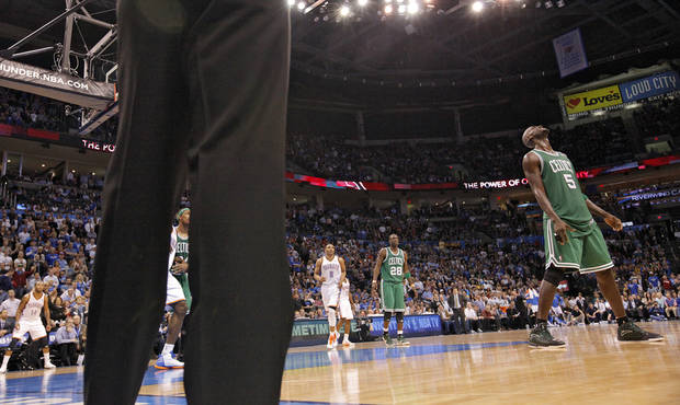 Boston Celtics power forward Kevin Garnett (5) reacts after being called for a foul during the NBA basketball game between the Oklahoma City Thunder and the Boston Celtics at the Chesapeake Energy Arena on Wednesday, Feb. 22, 2012 in Oklahoma City, Okla.  Photo by Chris Landsberger, The Oklahoman