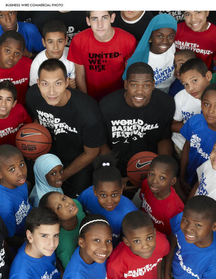 THE AMBASSADOR :  Kevin Durant and Yi Jianlian joined NIKE and USA Basketball last month in New York to announce the inaugural World Basketball Festival. The Festival brings some of the world's best basketball teams and top musical performers to a celebration of the performance and culture of the game this summer in New York City and debuts the United We Rise initiative as a catalyst to improve communities through basketball.