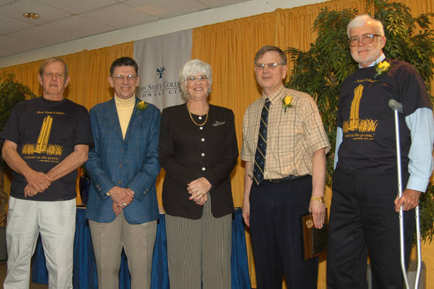 From left to right are Rose State College�s honored retiree�s Steve Reeves, Carl Sennhenn, Paula Wickersham, Dr. Baillie Dunlap, and Robert Leveridege.<br/><b>Community Photo By:</b> Pam Fordenbacher<br/><b>Submitted By:</b> Donna, Choctaw
