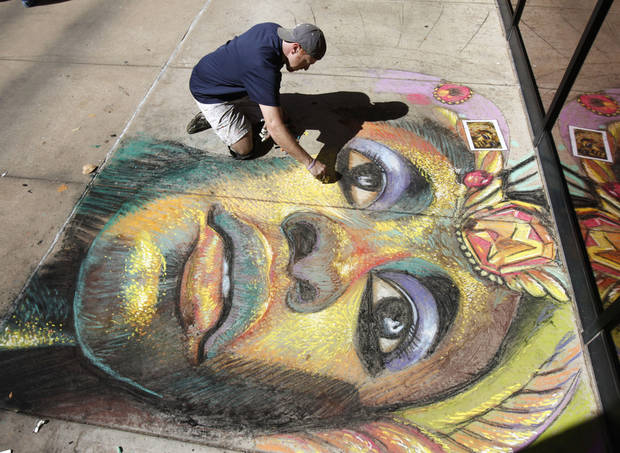 Chalk artist Bobby Marsee creates a work of art, as Rose State College hosts a cultural fair as part of the 23rd annual Global Oklahoma festival at the Rose State College campus in Midwest City, OK, Saturday, Oct. 1, 2011. By Paul Hellstern, The Oklahoman