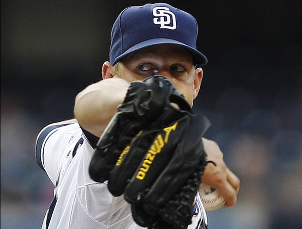 San Diego Padres starting pitcher Eric Stults works against the Chicago Cubs during the first inning of a baseball game, Monday, Aug. 6, 2012, in San Diego. (AP Photo/Lenny Ignelzi)